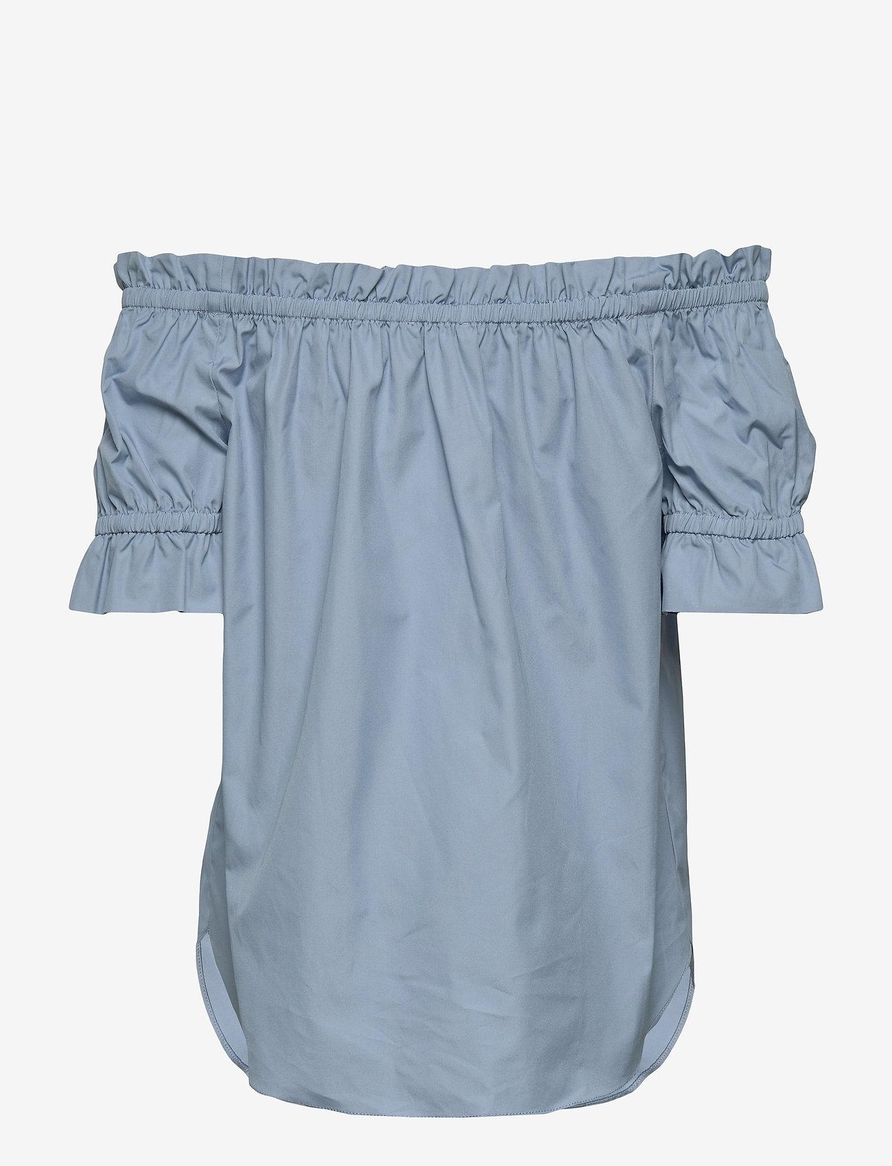Michael Kors - POPLIN OFF SHOLDER - blouses met korte mouwen - chambray - 0