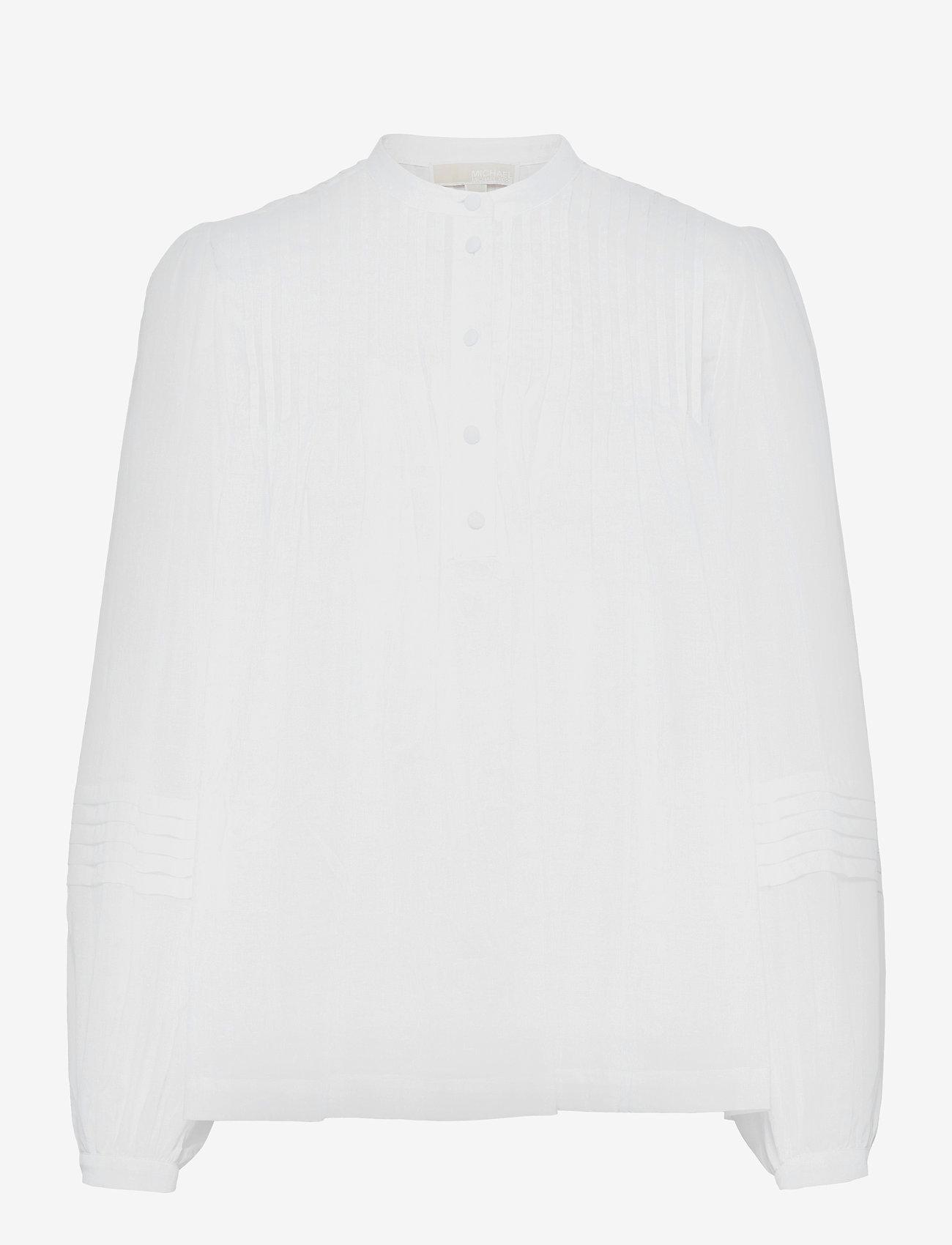 Michael Kors - CTN LAWN FLRL PINTUCK TOP - blouses met lange mouwen - white - 0
