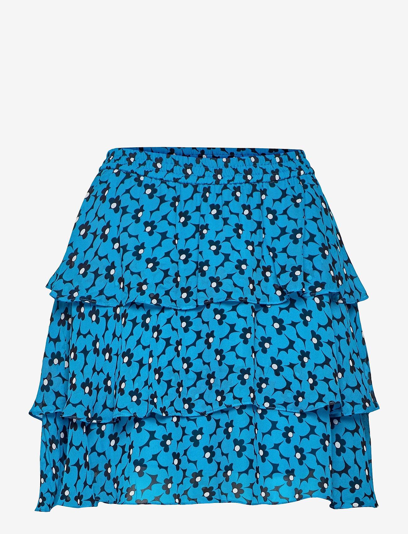 Michael Kors - 60S FLORAL FLRTY SKRT - korta kjolar - brt cyan blu - 0