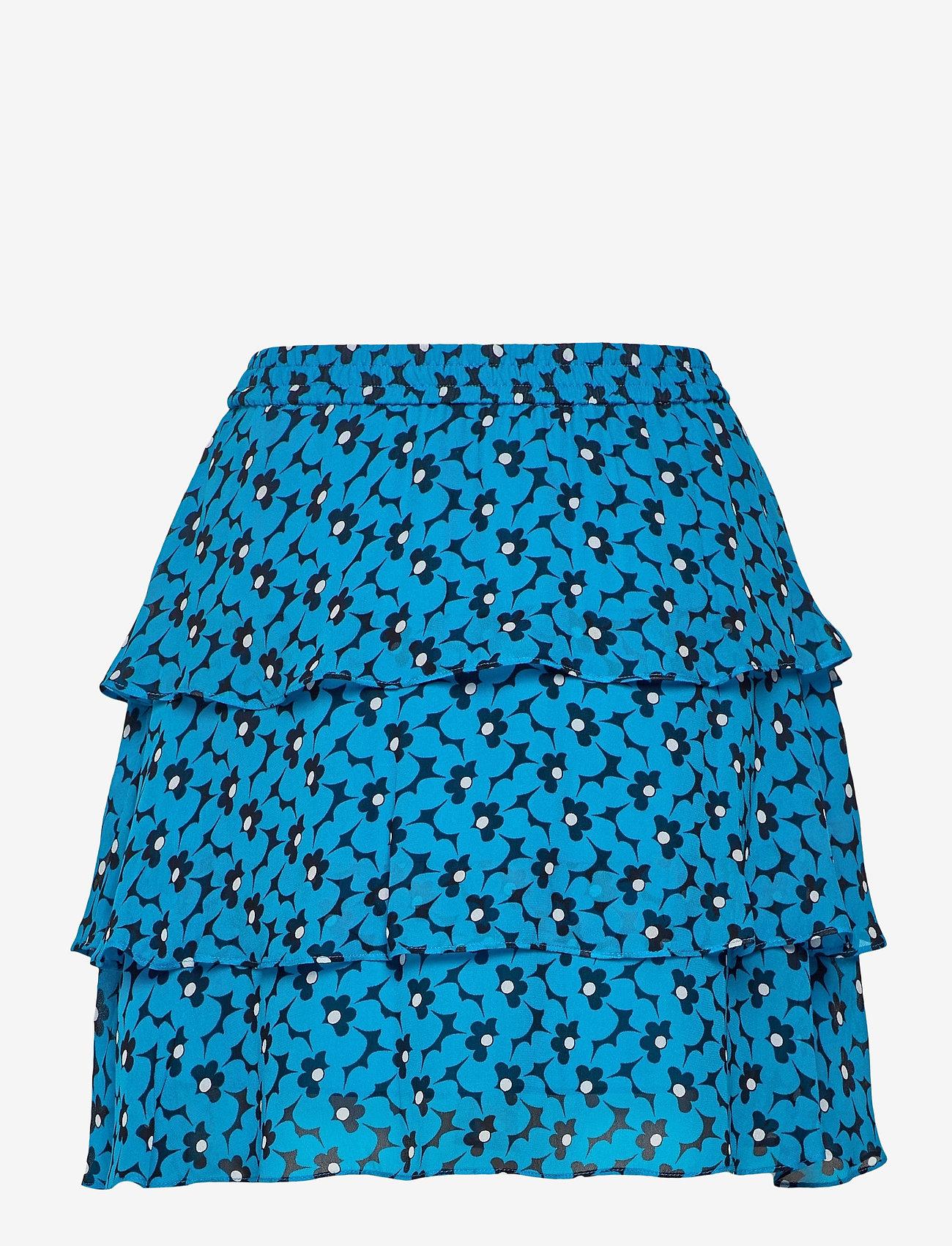 Michael Kors - 60S FLORAL FLRTY SKRT - korta kjolar - brt cyan blu - 1