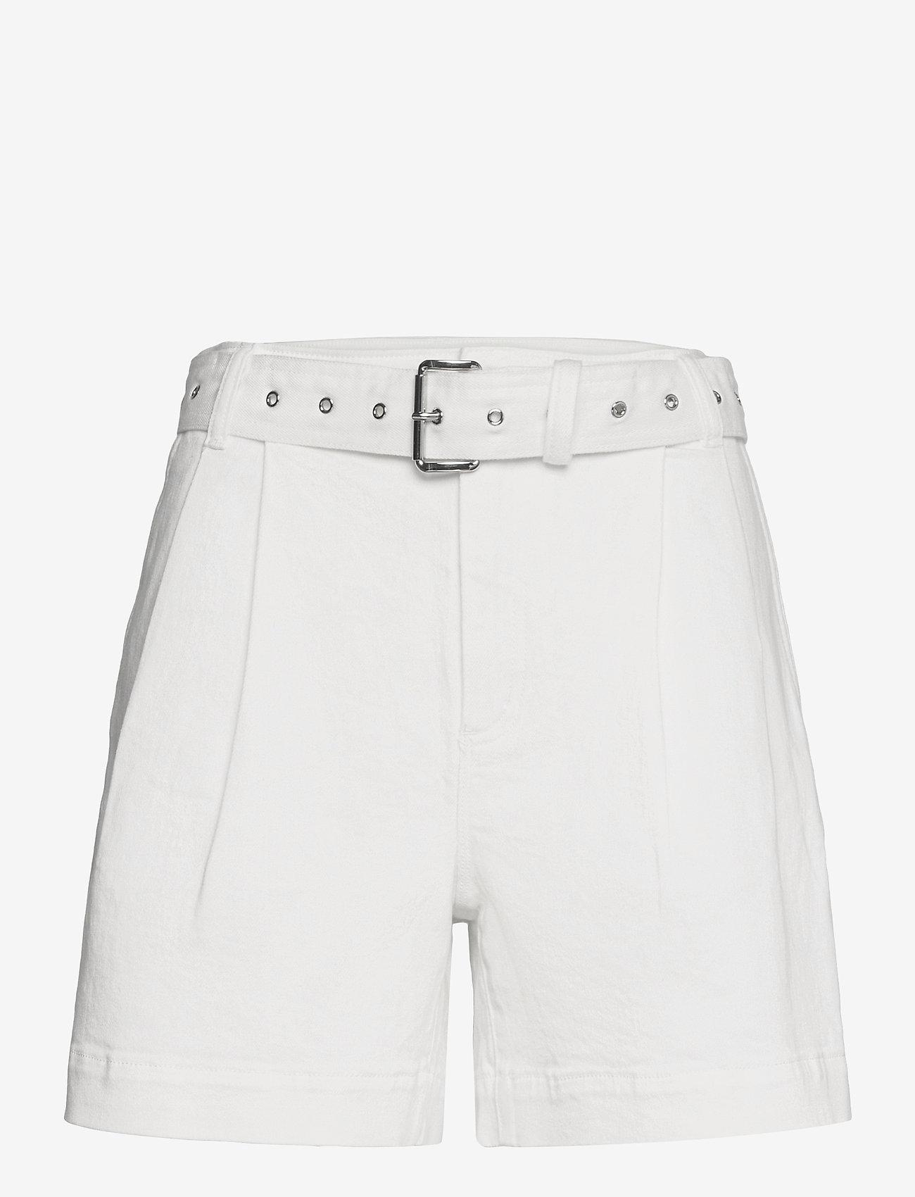 Michael Kors - PLEATED BELTED DNM SHORT - korte jeansbroeken - white - 0