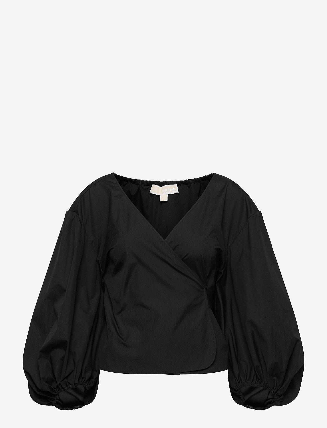 Michael Kors - COTTON POPLIN WRAP TP - blouses met lange mouwen - black - 0