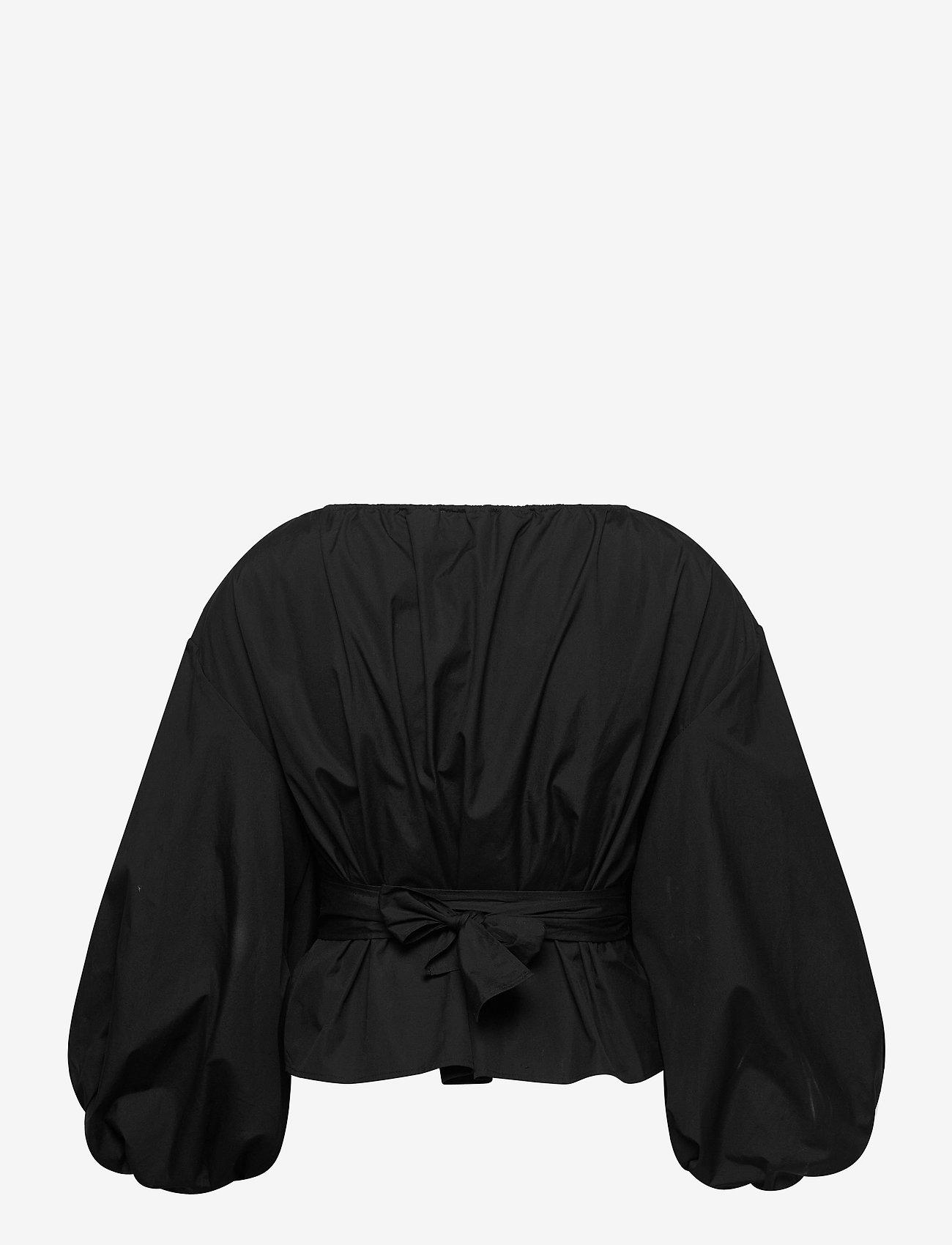 Michael Kors - COTTON POPLIN WRAP TP - blouses met lange mouwen - black - 1