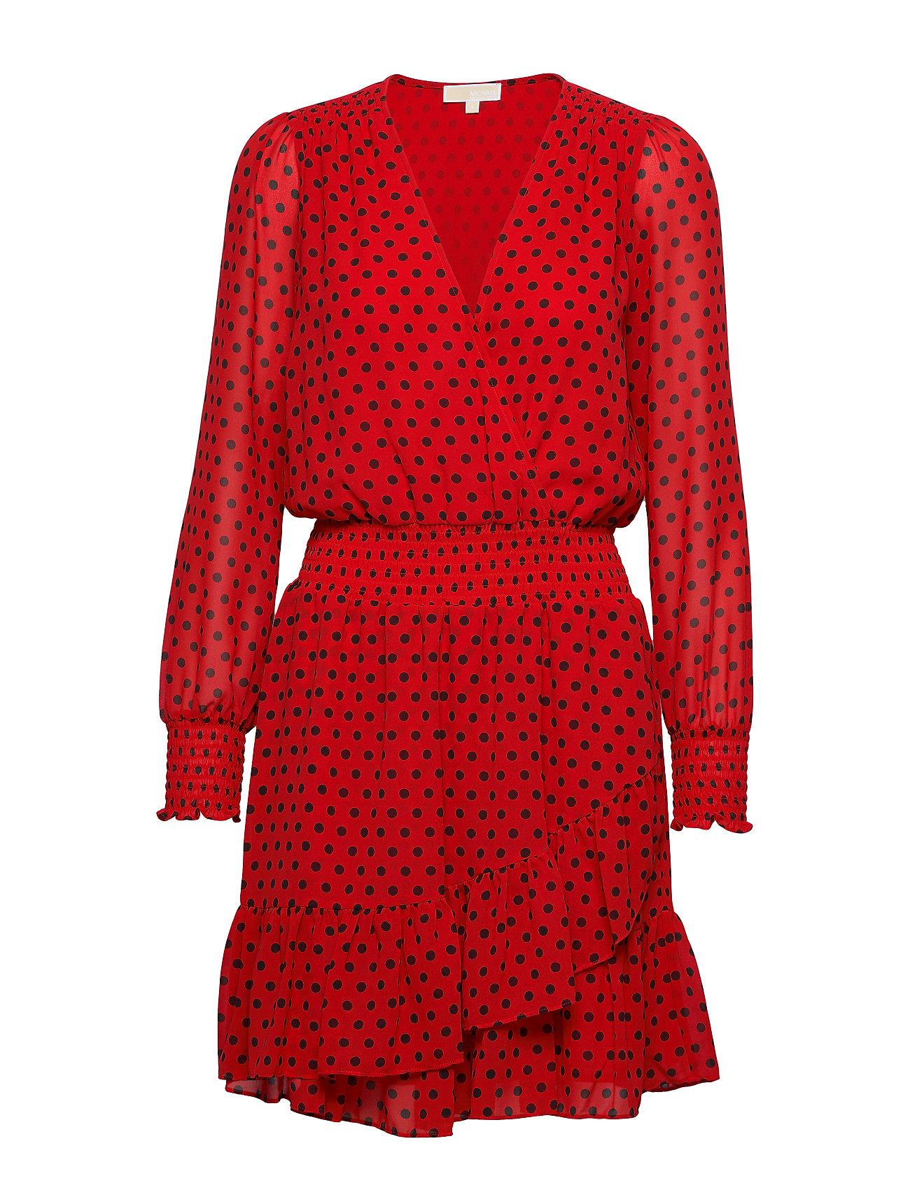 Michael Kors MOD DOT RFL DRESS - SCARLET/BLCK