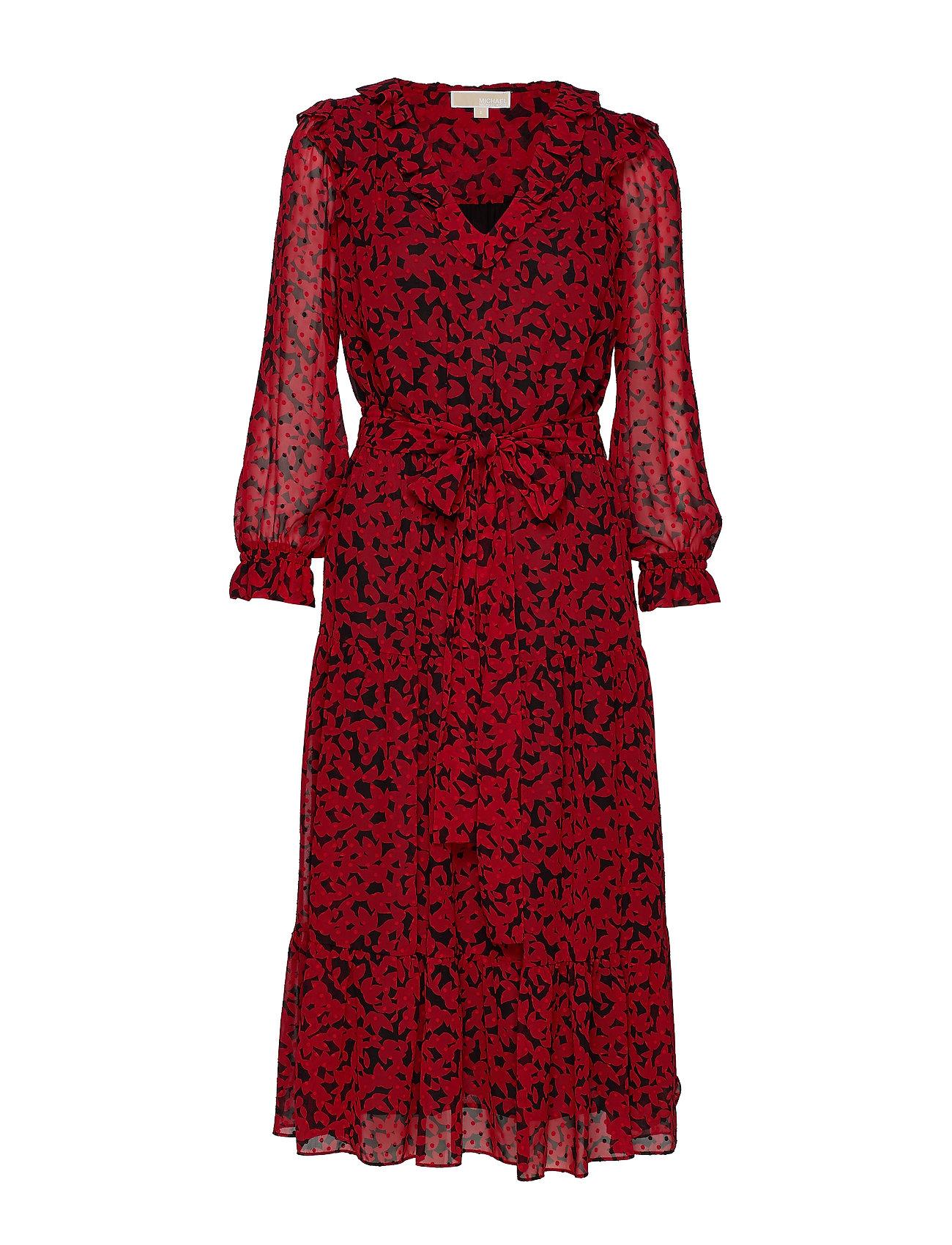 Michael Kors LEAF GDN TIERED DRESS - BLCK/SCARLET