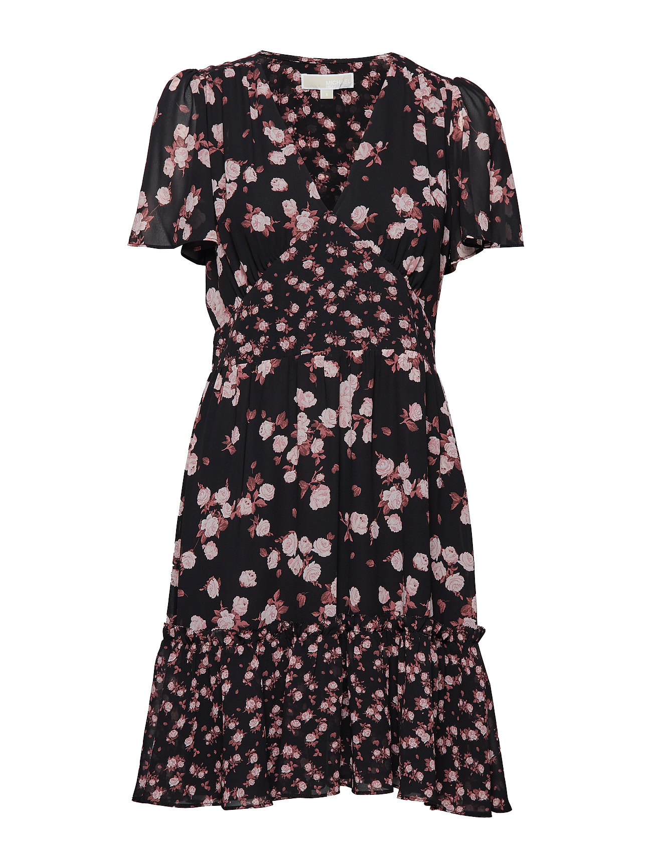 Michael Kors ROSE PRINT MIX DRESS - BLK/DSTYROSE
