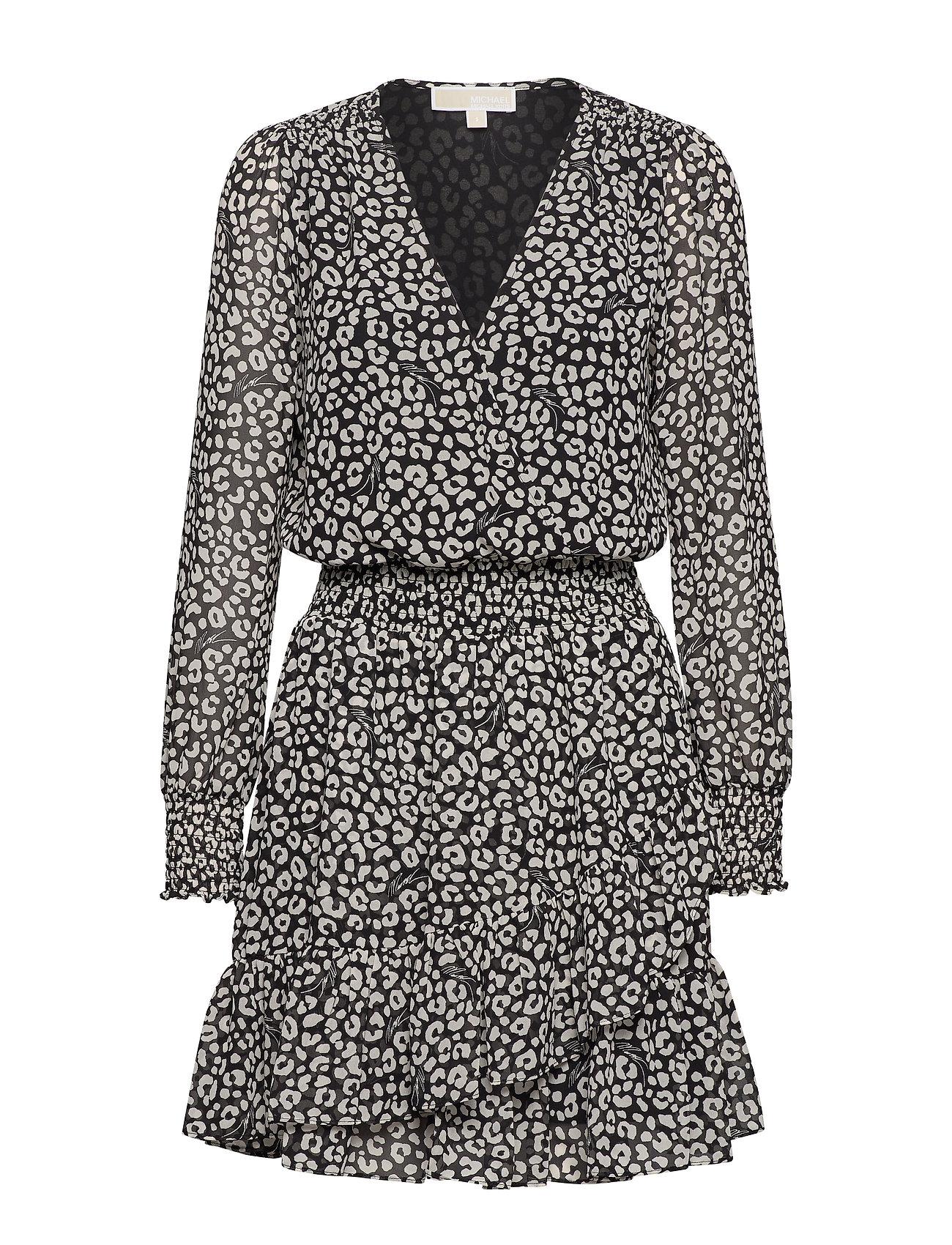 Michael Kors RUFFLE WRAP DRESS - BLACK/BONE