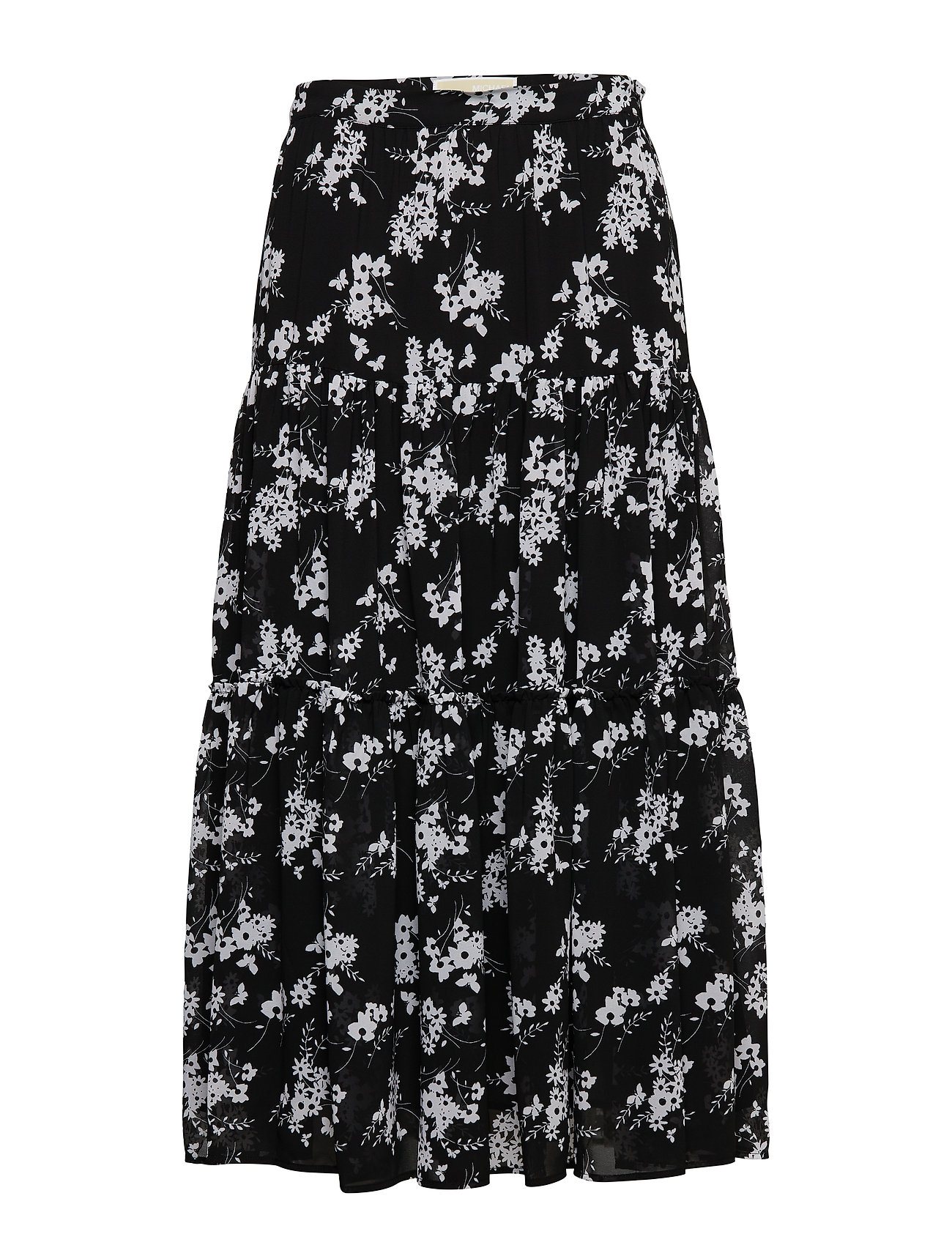 MICHAEL KORS Bold Botanical Skirt Knielanges Kleid Schwarz MICHAEL KORS