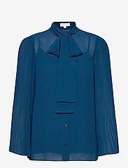 Michael Kors - PLEATED TOP - blouses met lange mouwen - river blue - 0