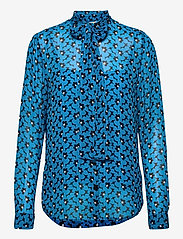 Michael Kors - 60S FLORAL BTN DWN BLS - blouses met lange mouwen - brt cyan blu - 0
