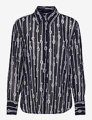 Michael Kors - SPACED SAILOR OVER SZ TOP - overhemden met lange mouwen - mdntbl/wht - 0
