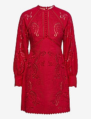 Michael Kors - LONG SLV EMB MINI DRESS - zomerjurken - crimson - 0