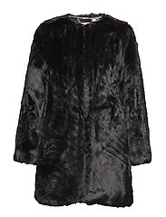 LONG FAUX FUR COAT - BLACK