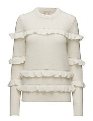 RIB RUFFLE SWEATER - BONE