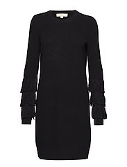 SHAKER FRINGE DRESS - BLACK