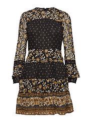BORDER DRESS - BLCK/MRIGOLD
