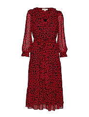 LEAF GDN TIERED DRESS - BLCK/SCARLET