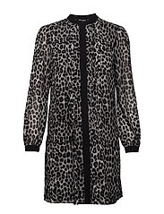 LS CHEETAH SHRTDRESS - GUNMETAL