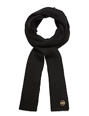 MK PATCH RIB SCARF - BLACK/GOLD