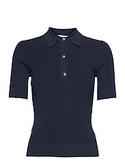 BUTTON POLO SWEATER - MIDNIGHTBLUE