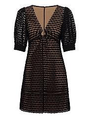GEO EYELET MINI DRESS - BLACK