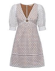 GEO EYELET MINI DRESS - WHITE