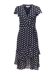 SIMPLE DOT WRAP DRES - TRNAVY/WHITE