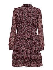 FLORAL SHIRT DRESS - BLK/ELTRCPNK