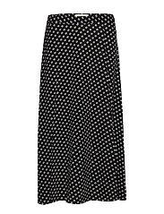 SLIT FRONT SKIRT - BLACK/BONE