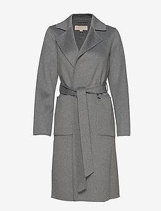 DB WOOL BELTED COAT - villakangastakit - heather grey