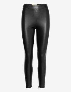 FAUX LTHR BI SRTCH LEGGNG - skinnbyxor - black