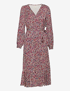 TIERED WRAP DRESS - wrap dresses - dark ruby