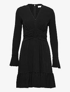 ELV SHIRRED MINI DRS - short dresses - black