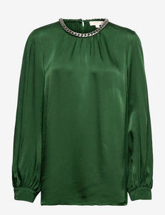 CHAIN NECK LG SLV TOP - blouses met lange mouwen - moss