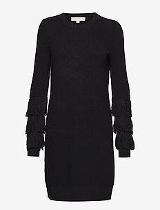 SHAKER FRINGE DRESS - sukienki dzianinowe - black