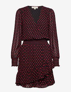 MOD DOT RFL DRESS - wrap dresses - blck/scarlet
