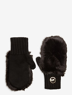 MK PATCH FUR MITTENS - handsker & vanter - black/gold