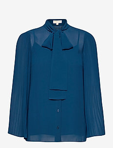 PLEATED TOP - blouses met lange mouwen - river blue