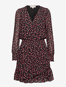 RUFFLE WRAP DRESS - BERRY
