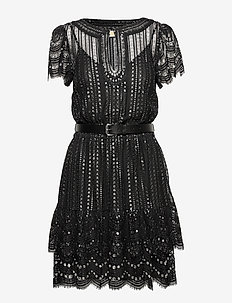 LUX METAL LACE DRESS - BLK/SILVER