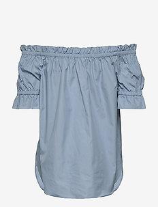 POPLIN OFF SHOLDER - blouses med korte mouwen - chambray