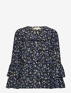 GRDN PATCH TIER SLV - long sleeved blouses - chambray