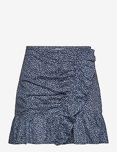 BOUTIQ BLOSM RF SKRT - korta kjolar - chambray
