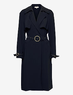 BELTED DRAPEY TRENCH - trenssit - midnightblue