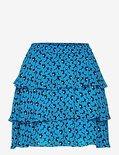 60S FLORAL FLRTY SKRT - korte nederdele - brt cyan blu