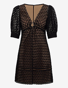 GEO EYELET MINI DRESS - kanten jurken - black
