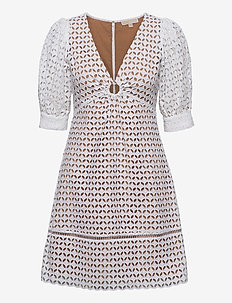GEO EYELET MINI DRESS - kanten jurken - white