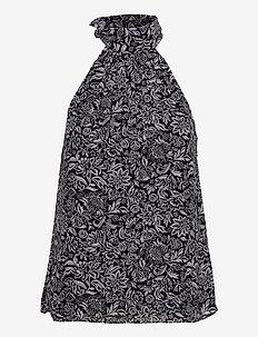 BICOLOR HIPPIE HLTR TOP - blouses zonder mouwen - black/white