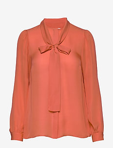 SOLID SILK BOW BLSE - coral peach