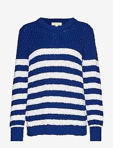 STRIPE SLUBBY LS CREW - swetry - twilightblue